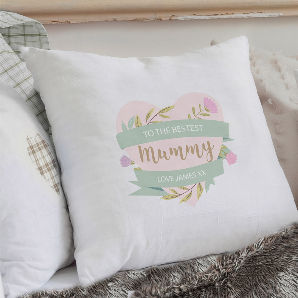 Floral Mother's Day Cream Cushion Cover