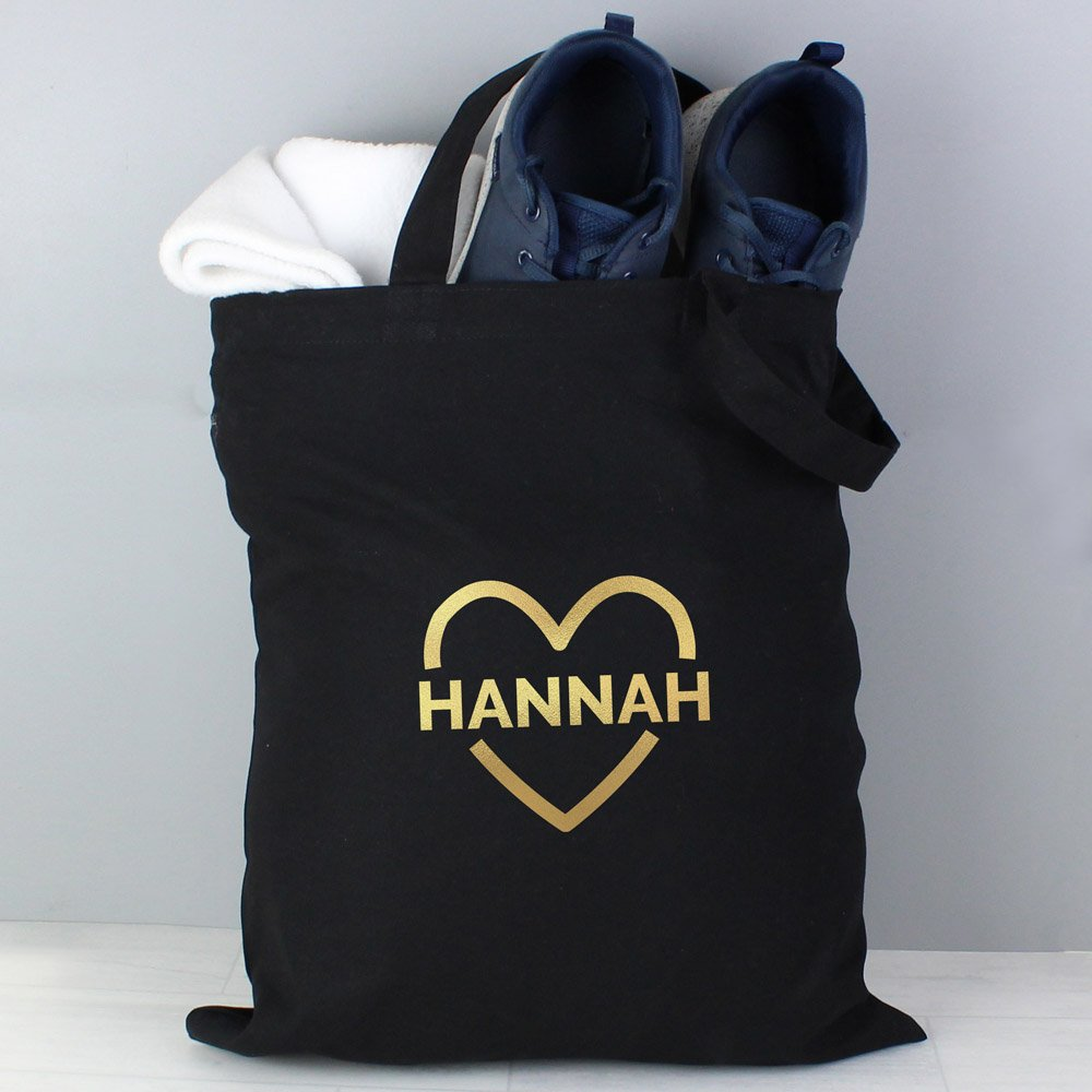 Gold Heart Black Cotton Bag
