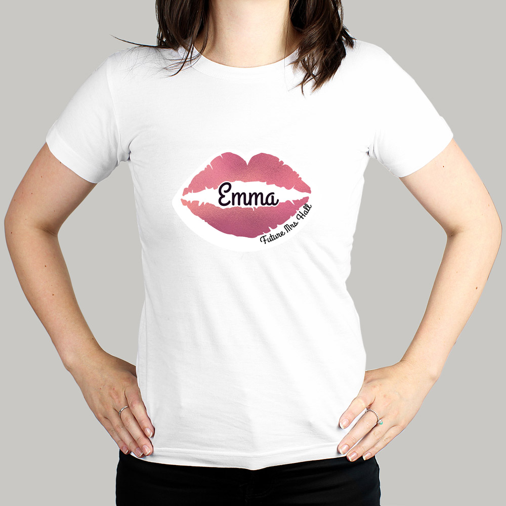 Rose Gold Lips Hen Party T-Shirt - White Small