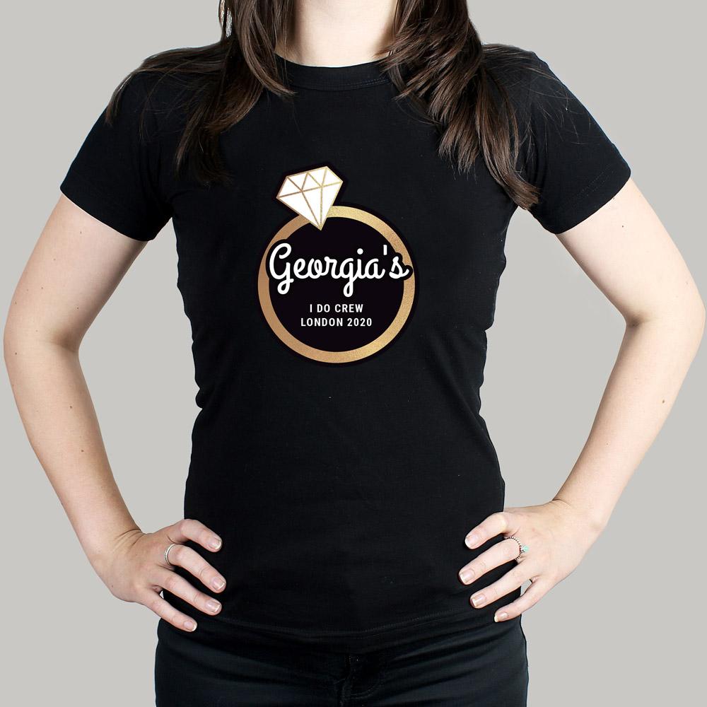 Gold Bling Ring Hen Party T-Shirt - Black XL