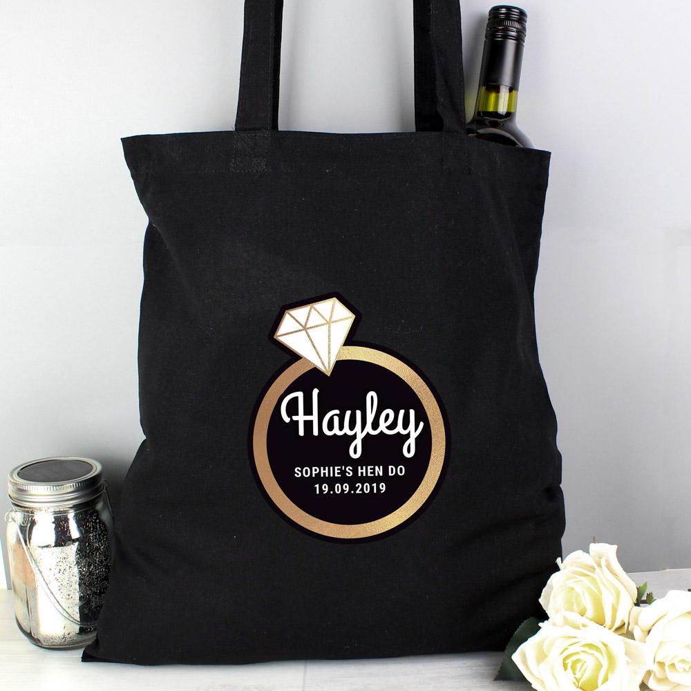 Gold Bling Ring Hen Party Black Cotton Bag