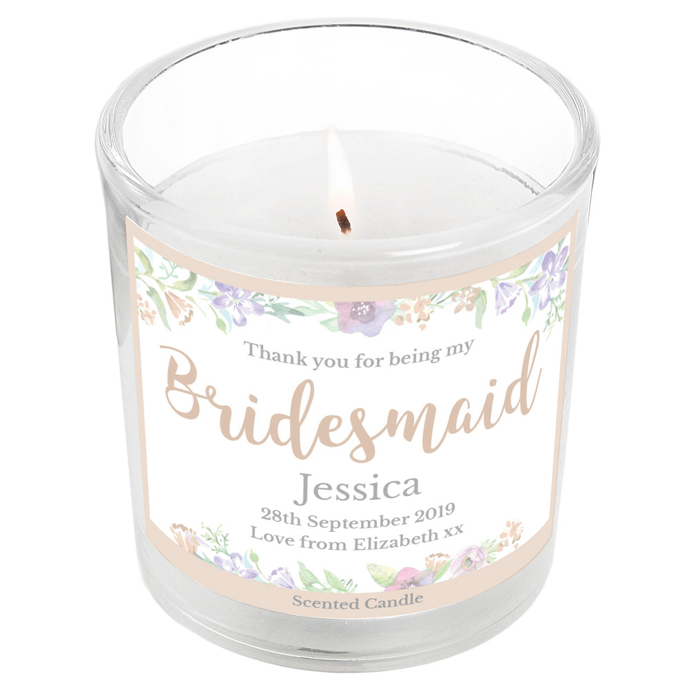 Bridesmaid 'Floral Watercolour Wedding' Scented Jar Candle