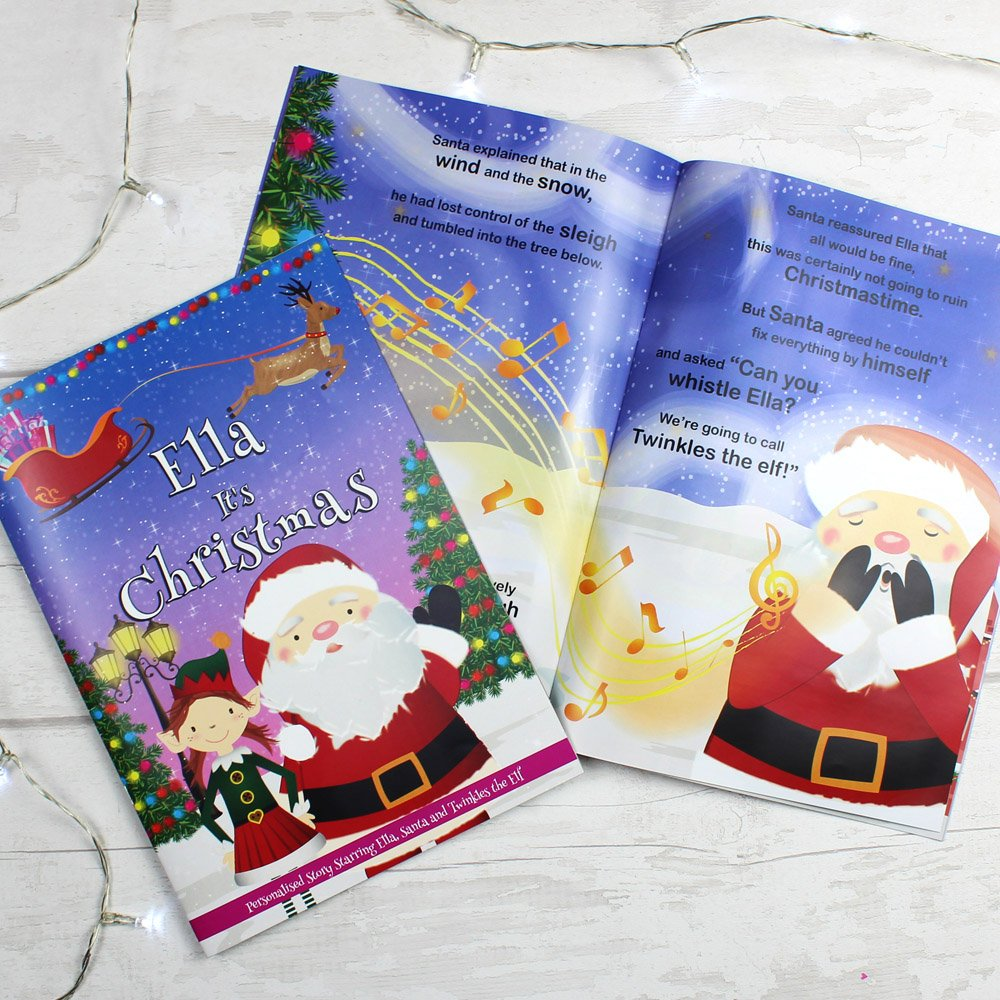"""Girls """"""""It's Christmas"""""""" Story Book, Featuring Santa and his Elf Twinkles"""