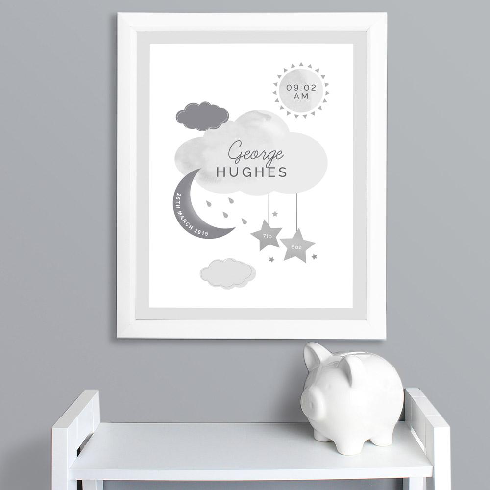 New Baby Moon & Stars White Framed Print