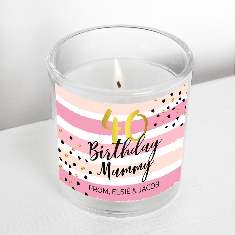 Birthday Gold and Pink Stripe Scented Jar Candle