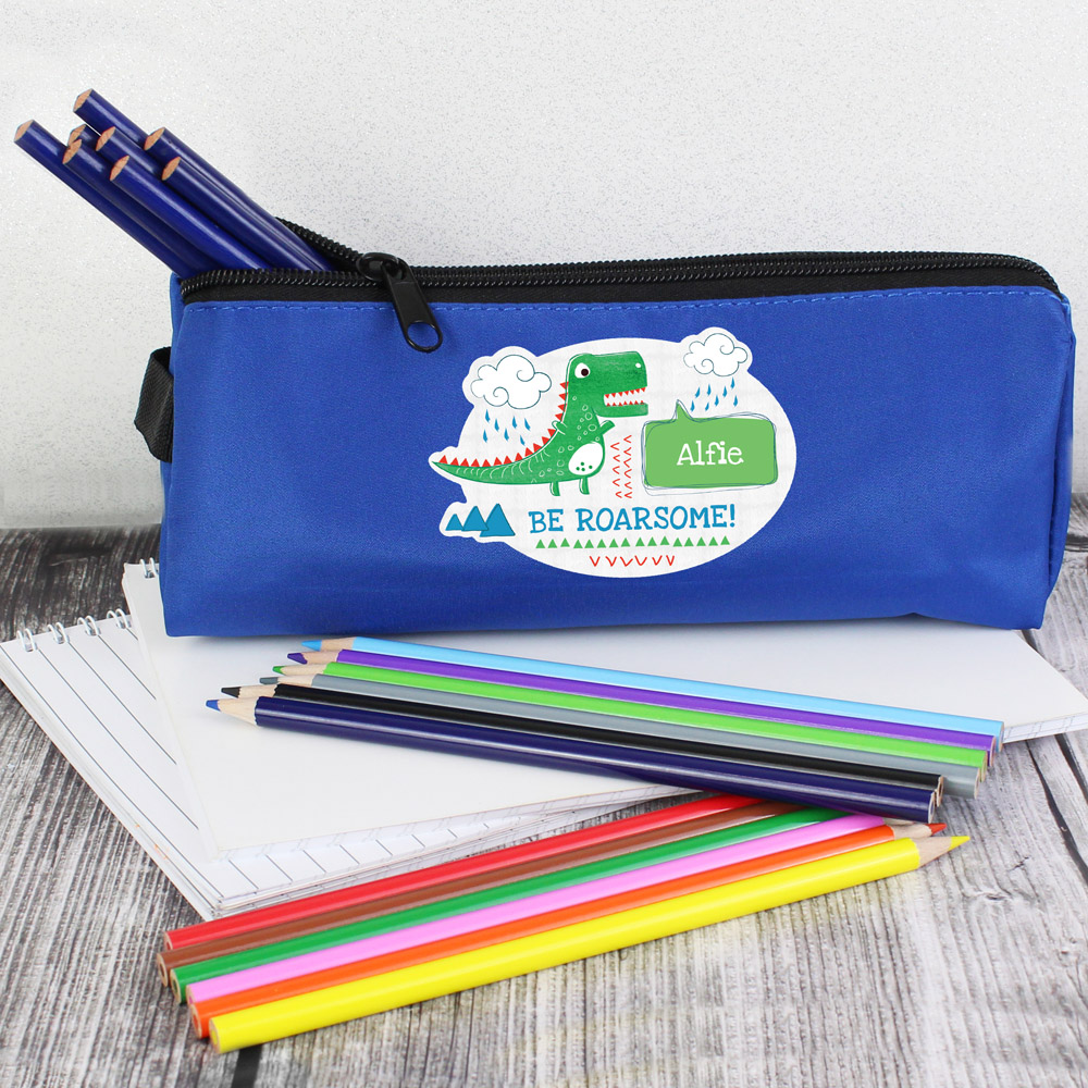 Be Roarsome' Dinosaur Blue Pencil Case