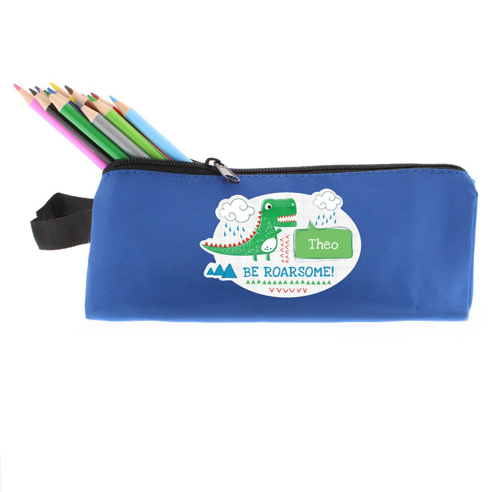 Be Roarsome' Dinosaur Blue Pencil Case