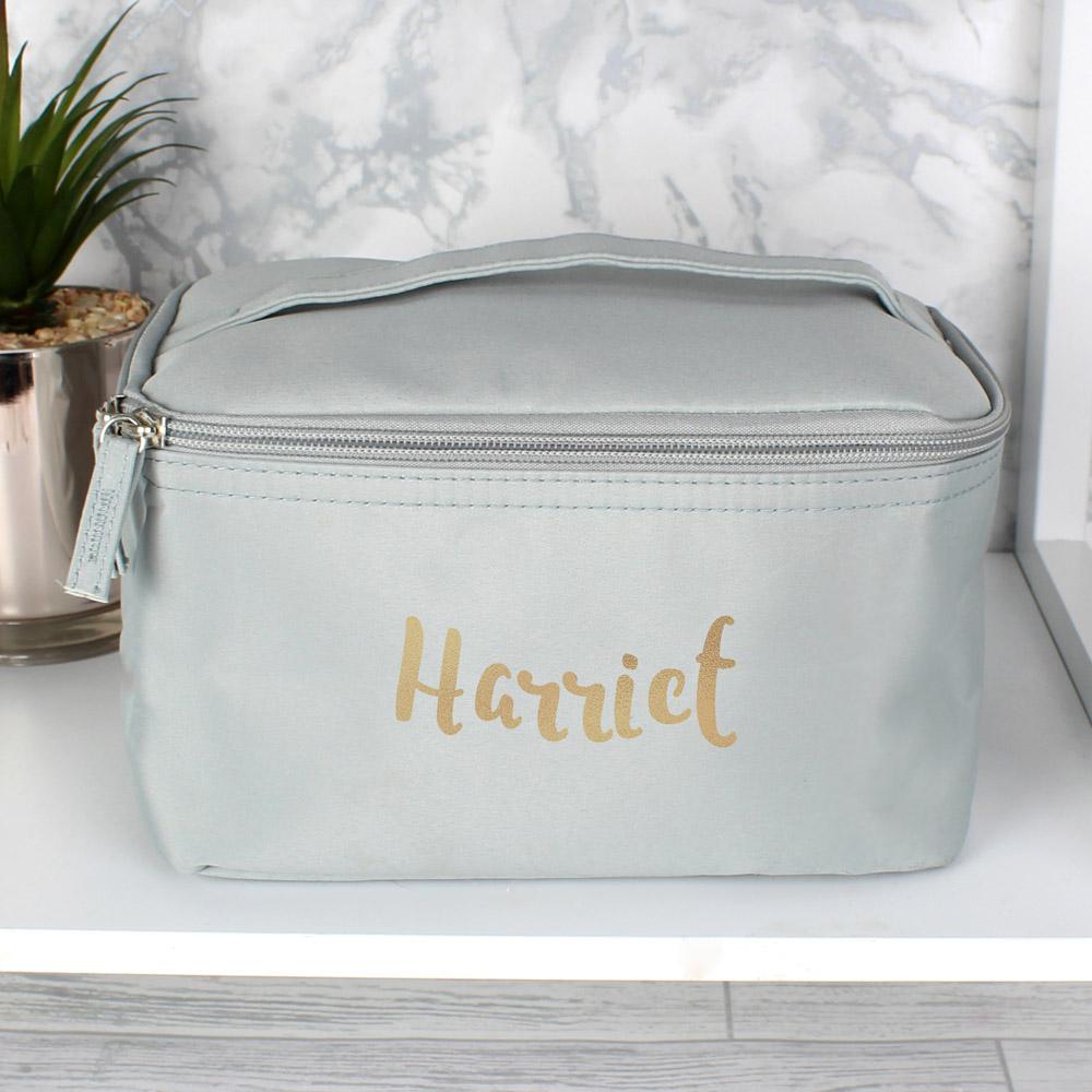 Gold Name Grey Make Up Wash Bag