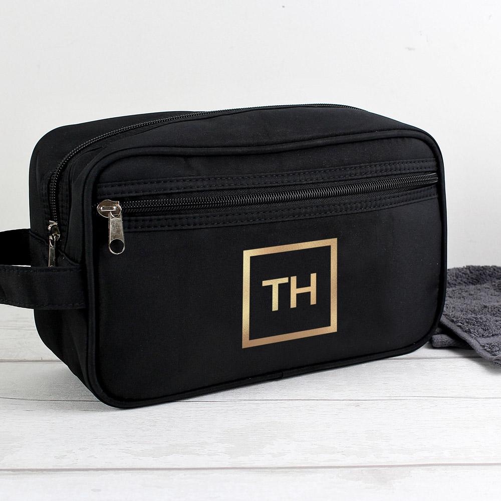 Gold Initials Black Wash Bag