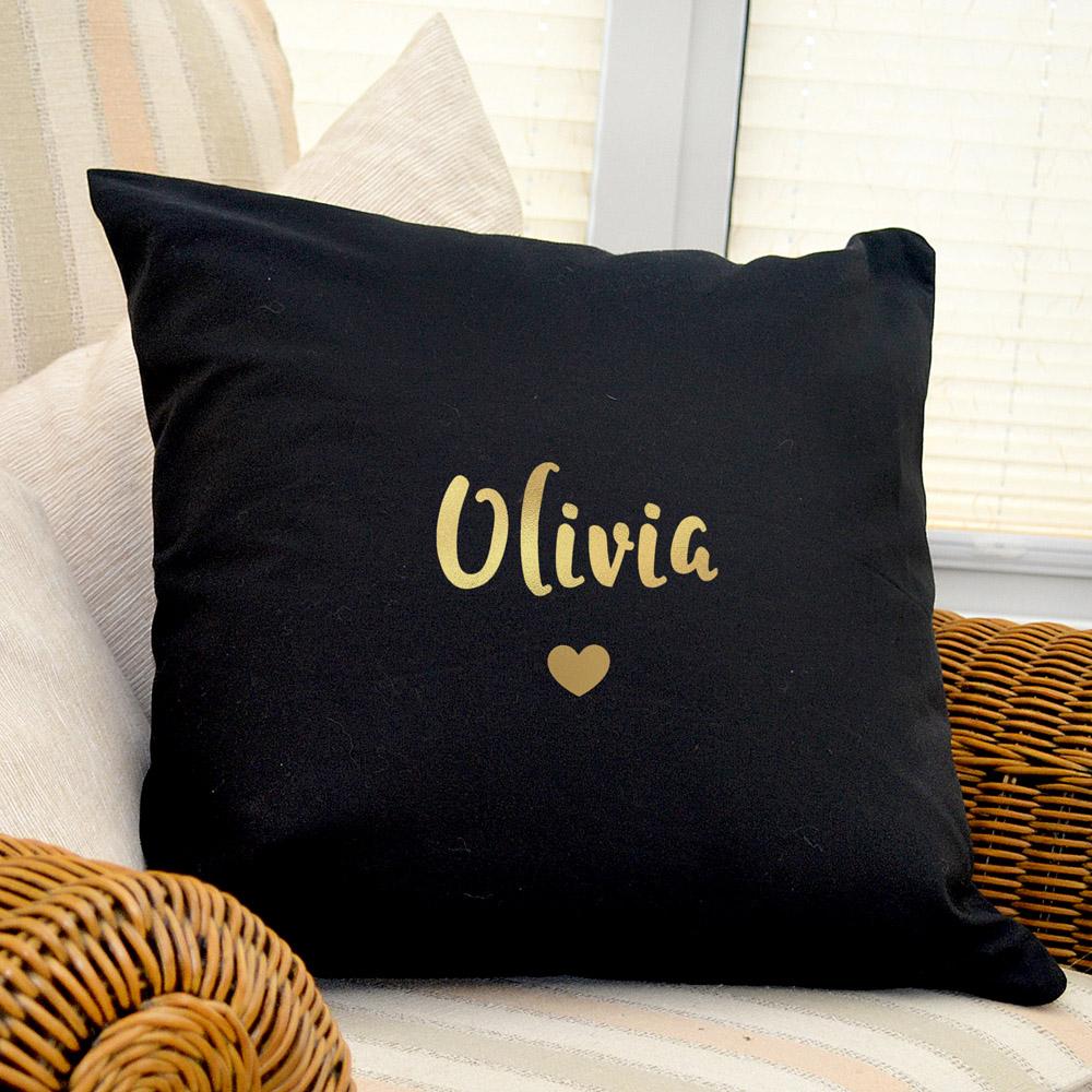 Gold Name Black Cushion Cover
