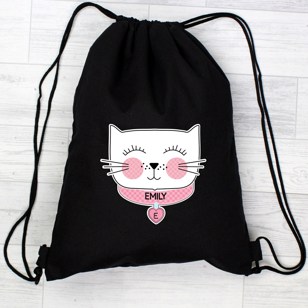 Cute Cat Black Swim & Kit Bag