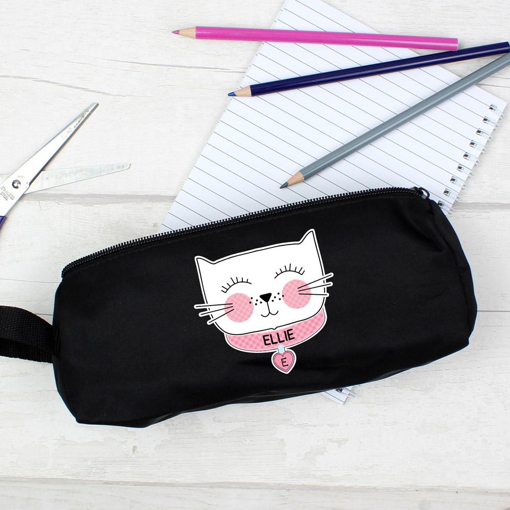 Cute Cat Black Pencil Case
