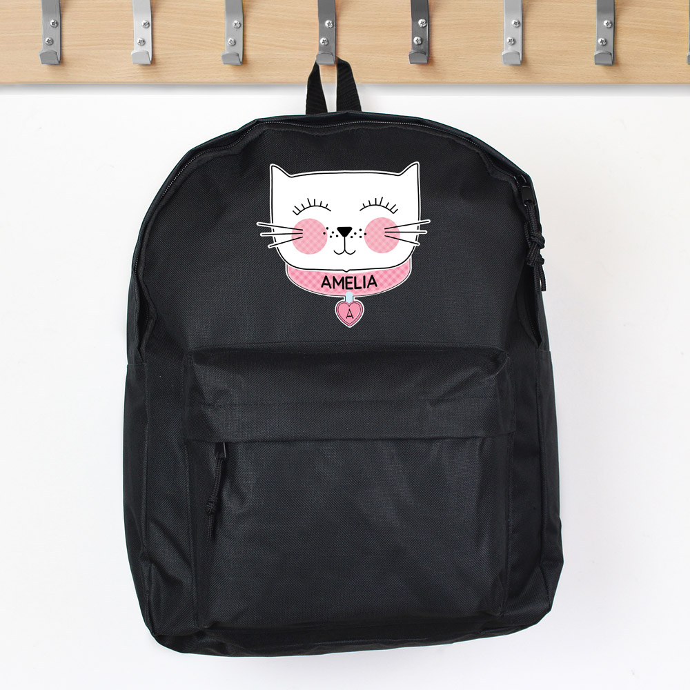 Cute Cat Black Backpack