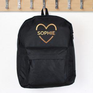 Gold Heart Black Backpack