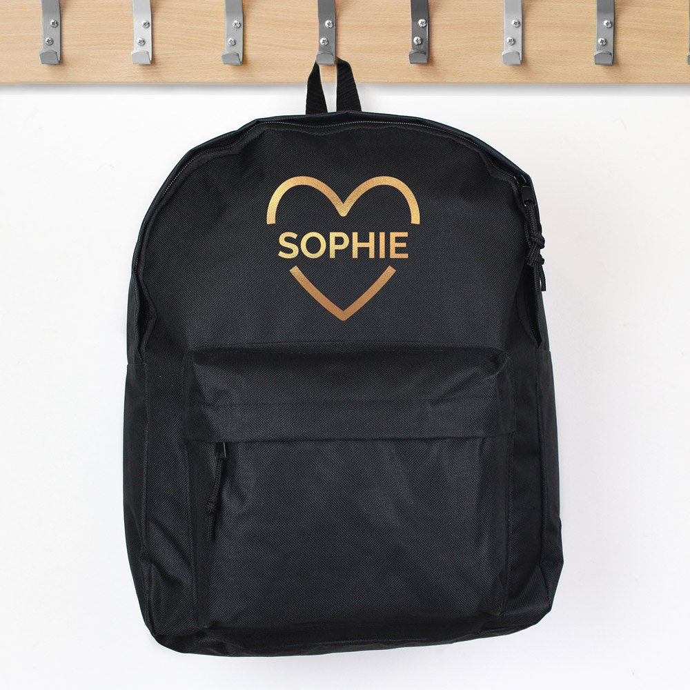 Gold Heart Black Backpack