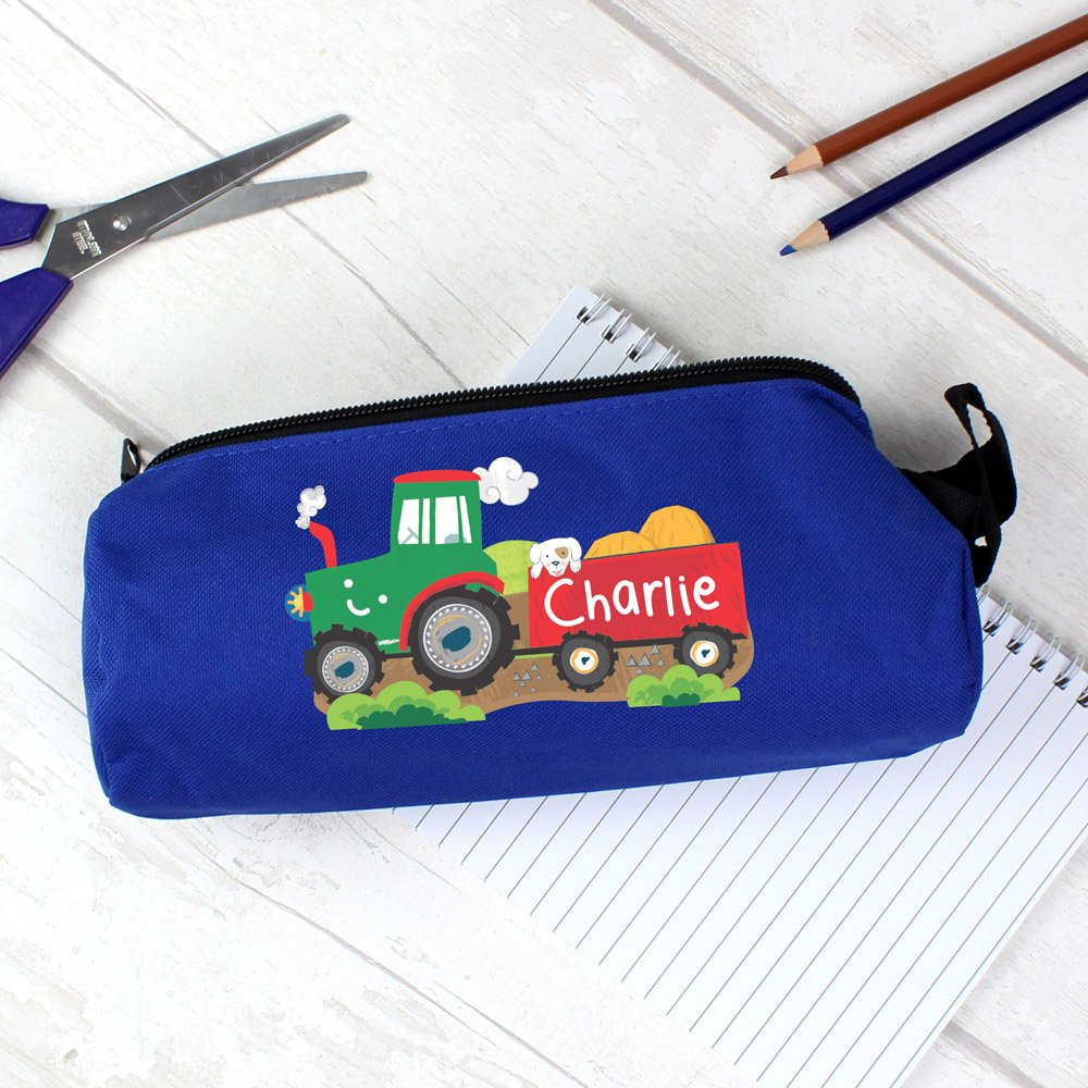 Tractor Blue Pencil Case