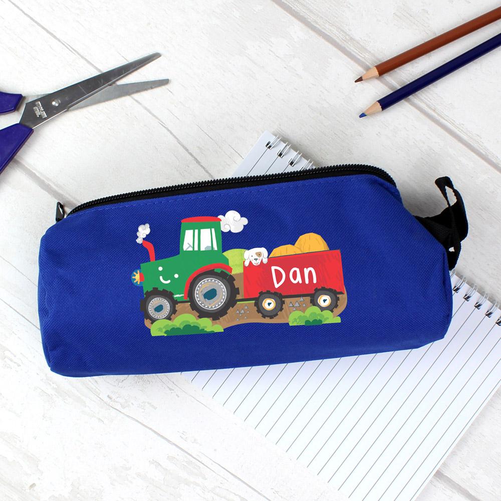 Tractor Blue Pencil Case