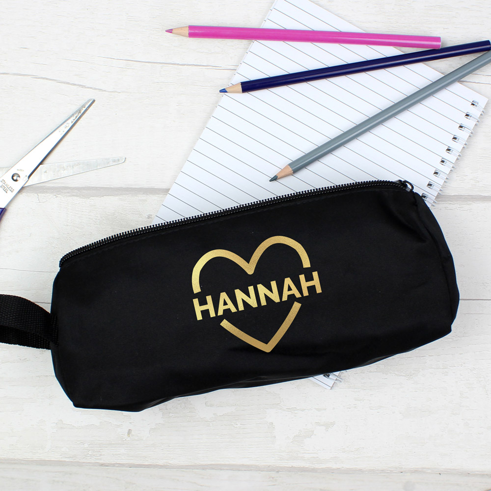 Gold Heart Black Pencil Case