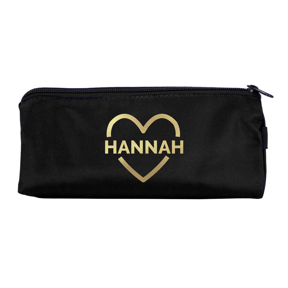 Gold Heart Black Pencil Case