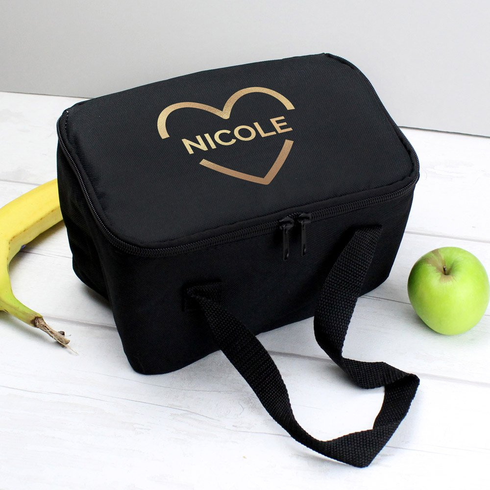 Gold Heart Black Lunch Bag