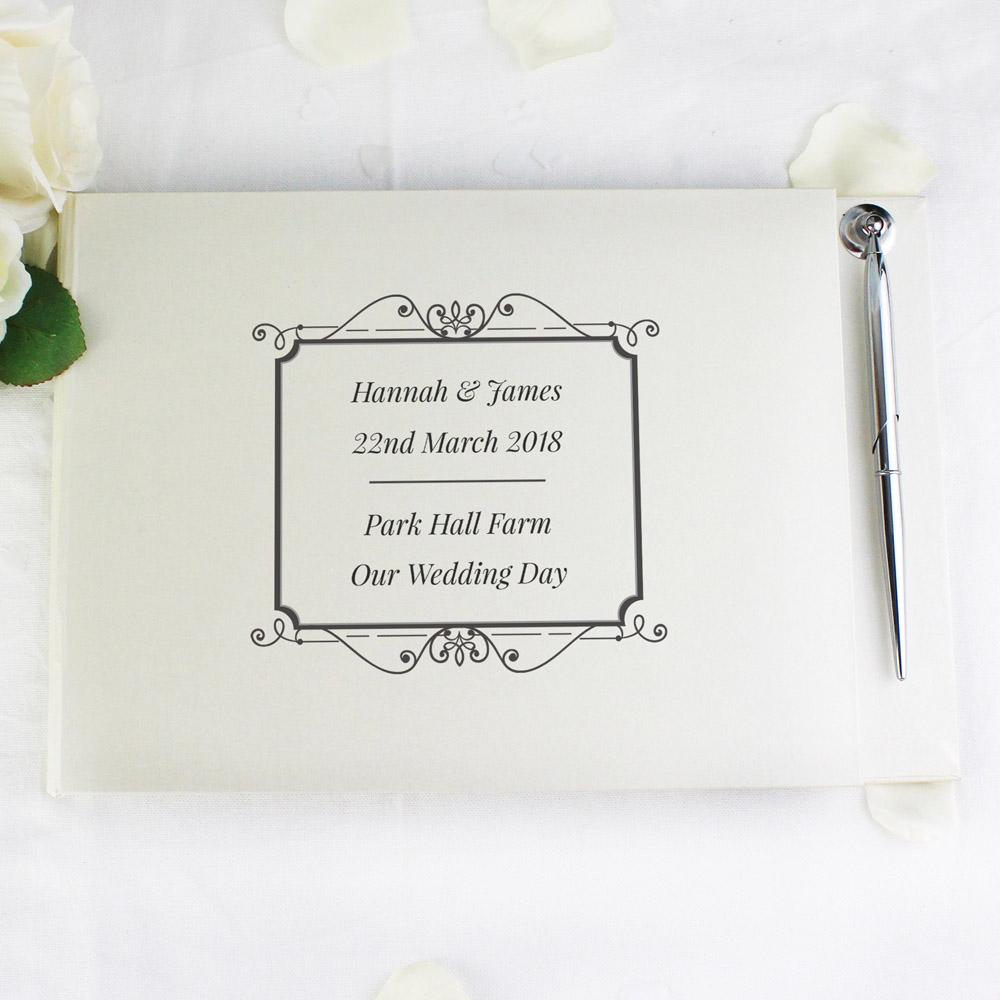 Black Hardback Guest Book & Pen