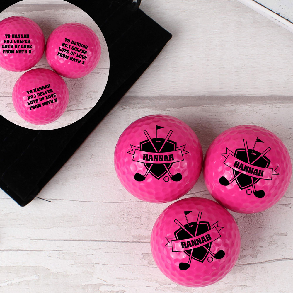 Shield Pack of Three Pink Golf Balls