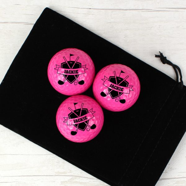 Shield Pack of Three Pink Golf Balls