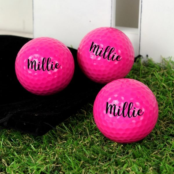 Name Pack of Three Pink Golf Balls