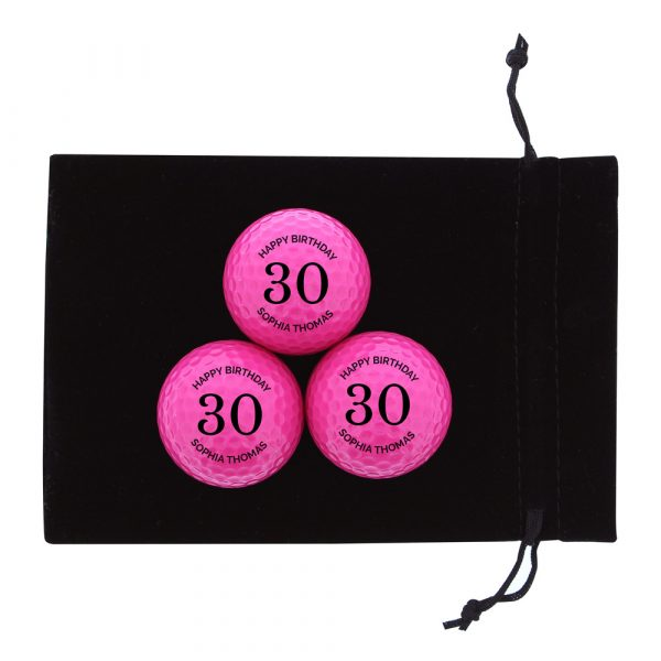 Birthday Pack of Three Pink Golf Balls