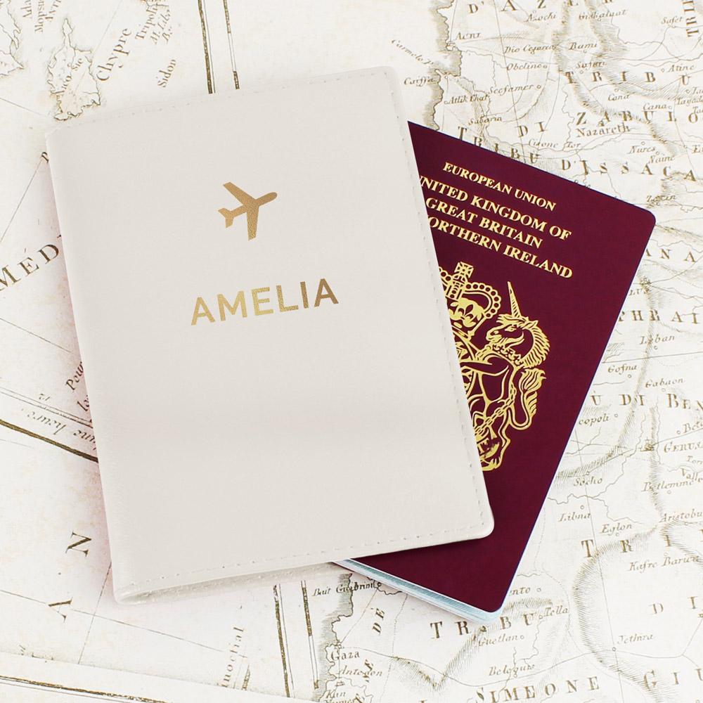 Gold Name Cream Passport Holder