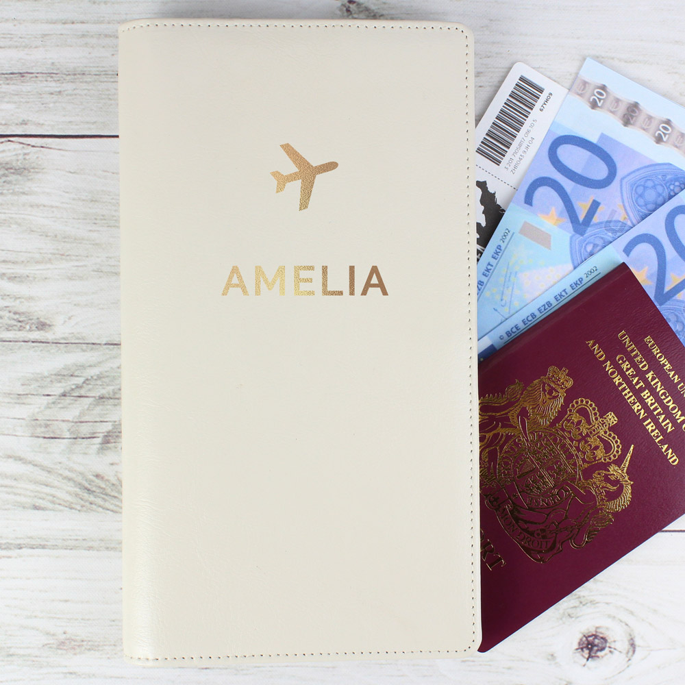 Gold Name Travel Document Holder