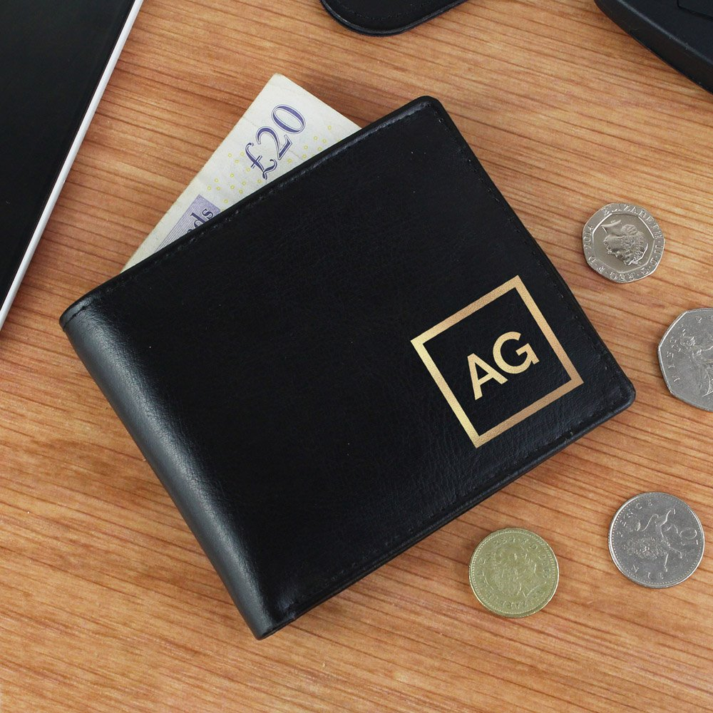 Gold Initials Leather Wallet