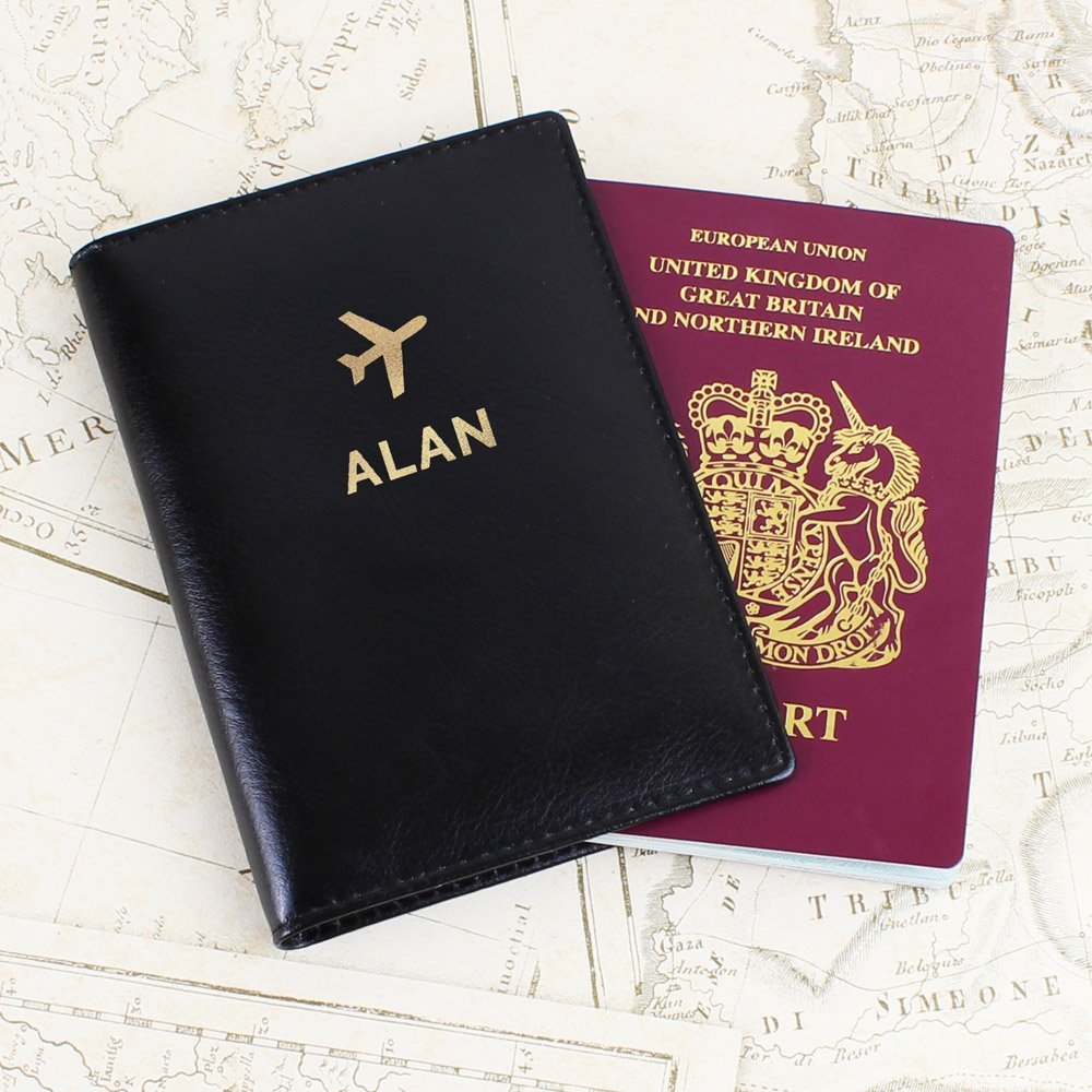 Gold Name Black Passport Holder