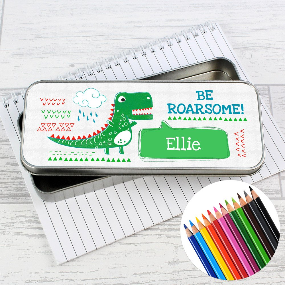 Be Roarsome' Dinosaur Pencil Tin with Pencil Crayons