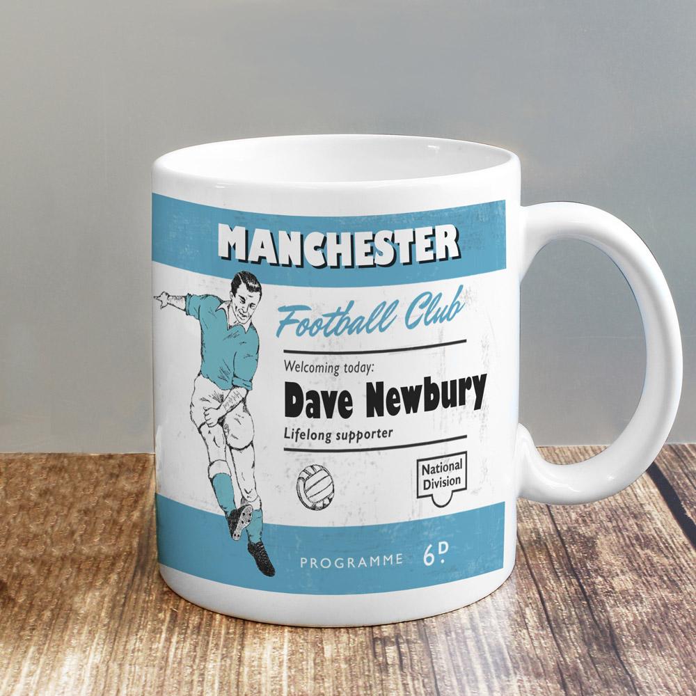 Vintage Football Sky Blue and White Supporter's Mug