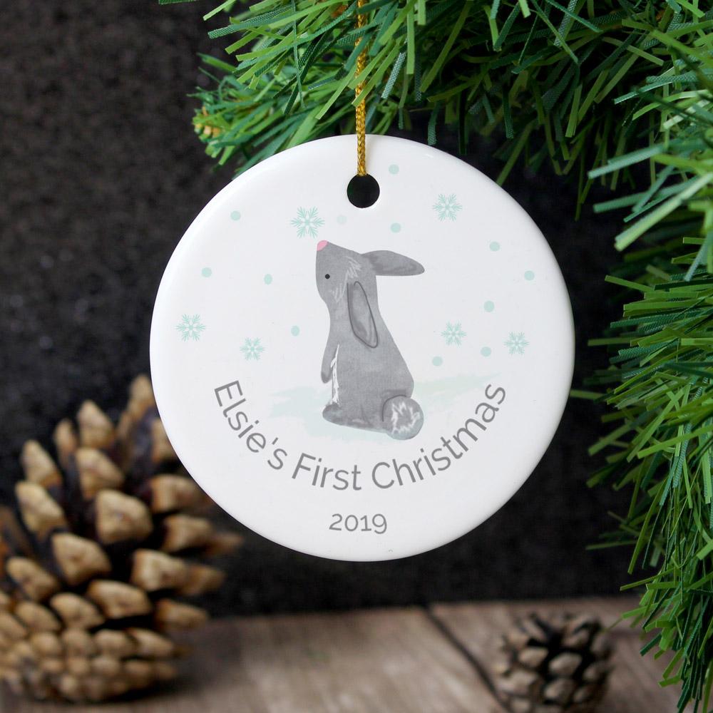 1st Christmas Bunny Round Ceramic Decoration