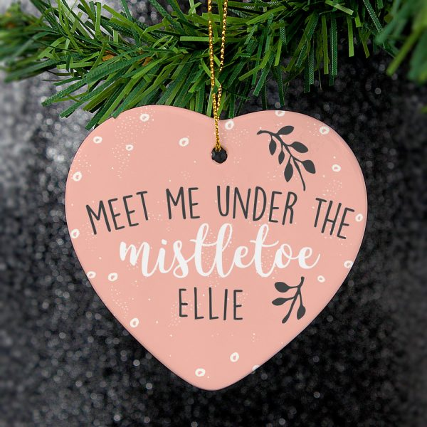 Meet Me Under The Mistletoe' Ceramic Heart Decoration