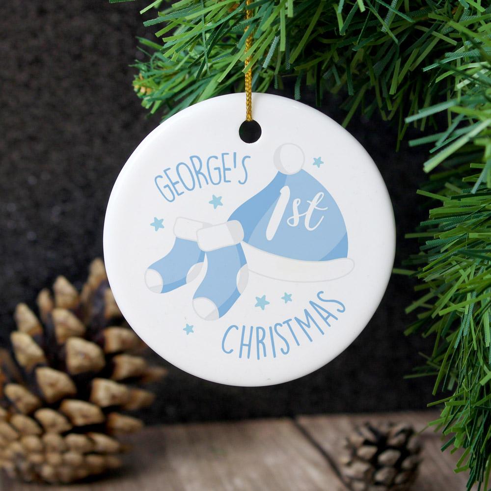 1st Christmas Blue Round Ceramic Decoration