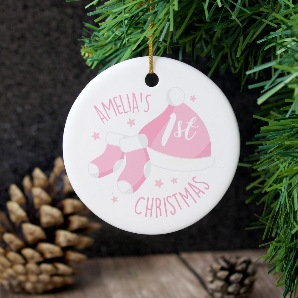 1st Christmas Pink Round Ceramic Decoration