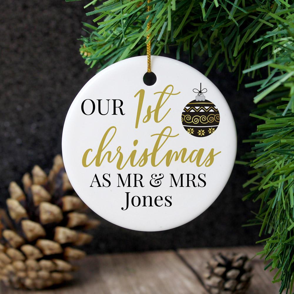 Mr and Mrs 1st Christmas Round Ceramic Decoration