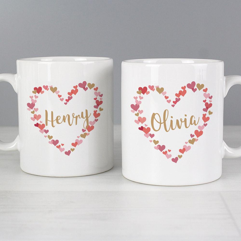 Confetti Hearts Wedding Mug Set
