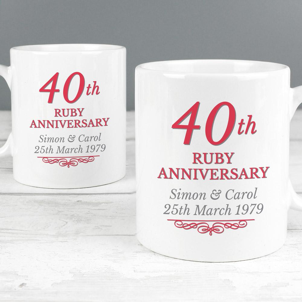 40th Ruby Anniversary Mug Set