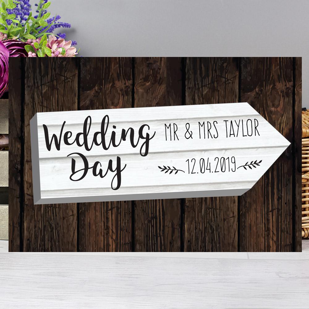 Wedding Day White Arrow Metal Sign