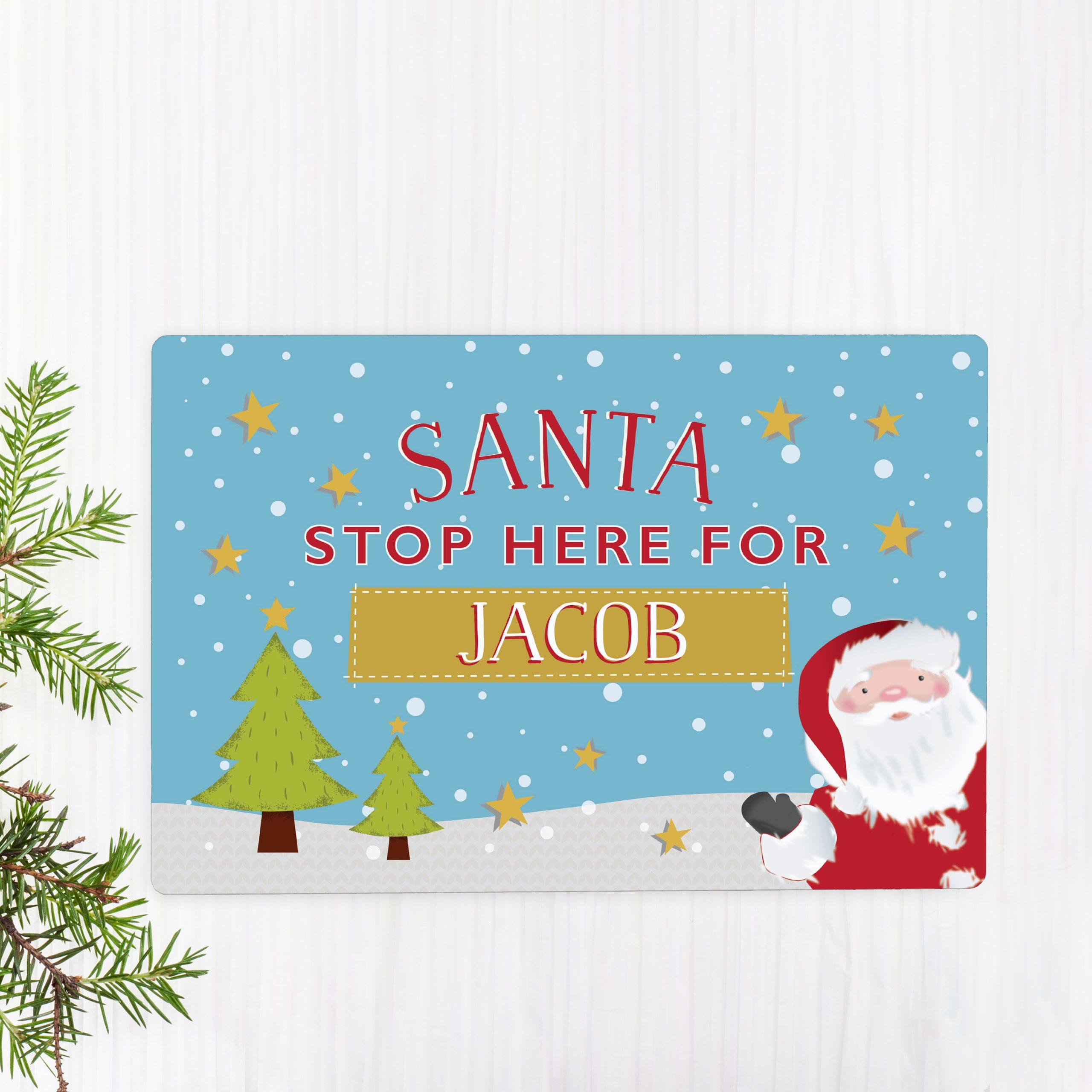 Santa Stop Here' Metal Sign