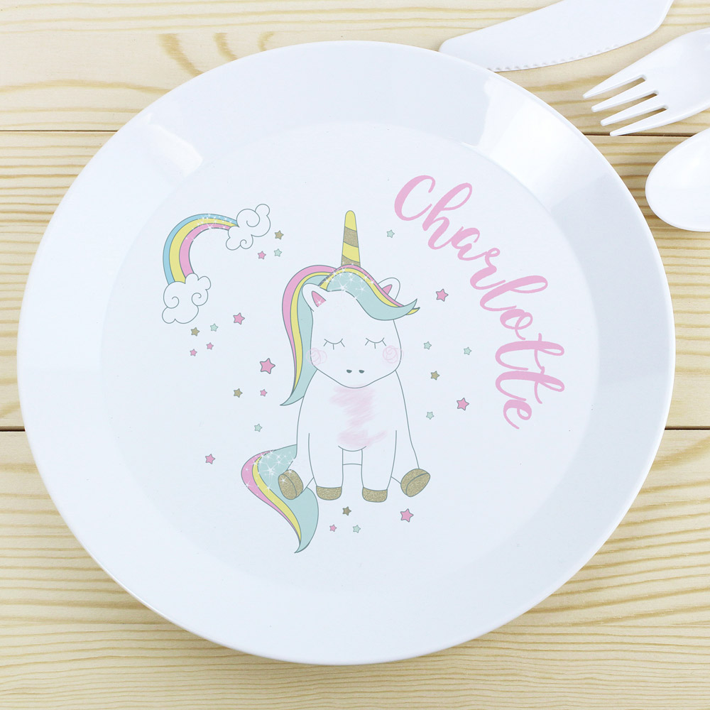 Baby Unicorn Plastic Plate