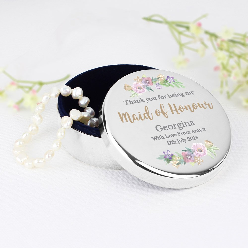 Maid of Honour 'Floral Watercolour Wedding' Round Trinket Box