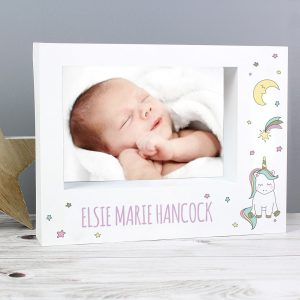 Baby Unicorn 7x5 Landscape Box Photo Frame