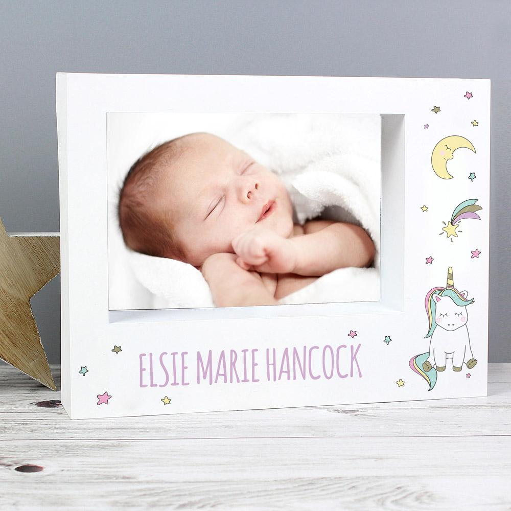 Baby Unicorn 7x5 Landscape Box Photo Frame