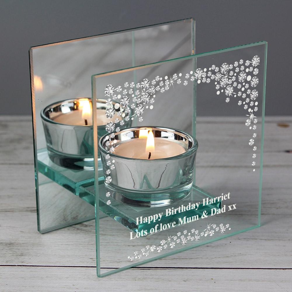 Diamante Mirrored Glass Tea Light Candle Holder