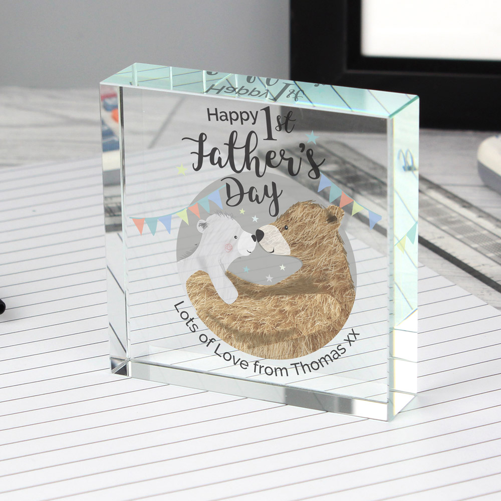 1st Father's Day Daddy Bear Large Crystal Token